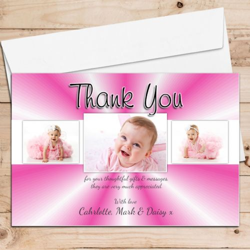 10 Personalised Girls Thank you PHOTO Cards N133 - Birthday Christening New Baby Birth